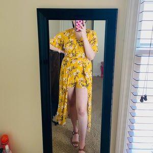 Gold floral dress/romper